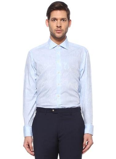 Etro Etro  İngiliz Yaka Jakarlı Gömlek 101617678 Mavi